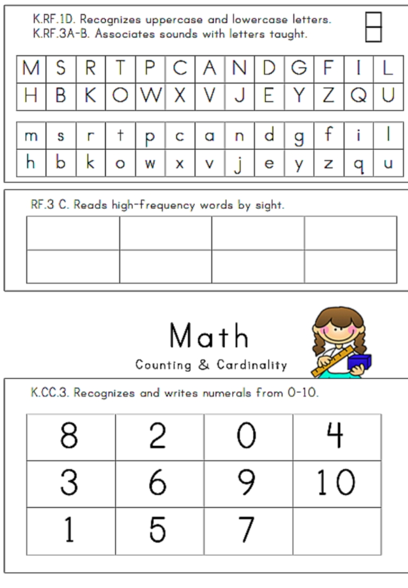 Irresistible image within kindergarten assessment tests printable