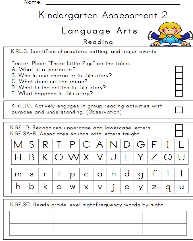 worksheet Kindergarten Assessment Test 24 page illustrated kindergarten assessment miss bindergartens ka 5